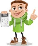 Boy with Hoodie Cartoon Vector Character AKA Hoody Cody - Calculator