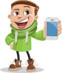 Boy with Hoodie Cartoon Vector Character AKA Hoody Cody - iPhone