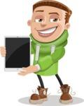 Boy with Hoodie Cartoon Vector Character AKA Hoody Cody - iPad 1
