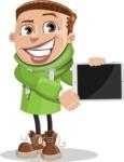 Boy with Hoodie Cartoon Vector Character AKA Hoody Cody - iPad 2