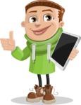 Boy with Hoodie Cartoon Vector Character AKA Hoody Cody - iPad 3