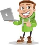 Boy with Hoodie Cartoon Vector Character AKA Hoody Cody - Laptop 1