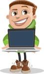 Boy with Hoodie Cartoon Vector Character AKA Hoody Cody - Laptop 2