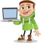 Boy with Hoodie Cartoon Vector Character AKA Hoody Cody - Laptop 3