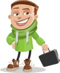 Boy with Hoodie Cartoon Vector Character AKA Hoody Cody - Brifcase 1
