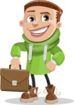 Boy with Hoodie Cartoon Vector Character AKA Hoody Cody - Brifcase 2