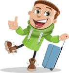 Boy with Hoodie Cartoon Vector Character AKA Hoody Cody - Travel 1