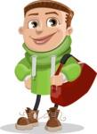 Boy with Hoodie Cartoon Vector Character AKA Hoody Cody - Travel 2