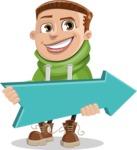 Boy with Hoodie Cartoon Vector Character AKA Hoody Cody - Pointer 2