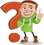 Boy with Hoodie Cartoon Vector Character AKA Hoody Cody - Question