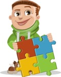 Boy with Hoodie Cartoon Vector Character AKA Hoody Cody - Puzzle