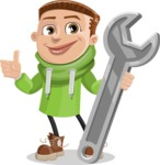 Boy with Hoodie Cartoon Vector Character AKA Hoody Cody - Repair
