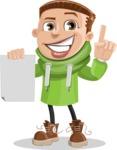 Boy with Hoodie Cartoon Vector Character AKA Hoody Cody - Sign 2