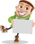 Boy with Hoodie Cartoon Vector Character AKA Hoody Cody - Sign 4