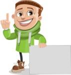 Boy with Hoodie Cartoon Vector Character AKA Hoody Cody - Sign 7