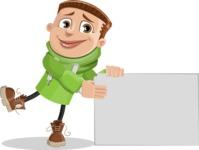 Boy with Hoodie Cartoon Vector Character AKA Hoody Cody - Sign 8