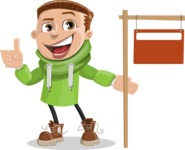 Boy with Hoodie Cartoon Vector Character AKA Hoody Cody - Sign 9