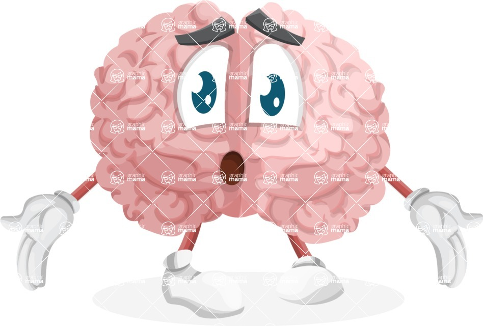 Cute Brain Cartoon Vector Character Feeling Lost With Sad Face Graphicmama