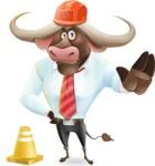 Business Buffalo Cartoon Vector Character - as a Construction worker