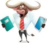 Business Buffalo Cartoon Vector Character - Choosing between Book and Tablet