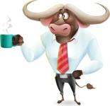 Business Buffalo Cartoon Vector Character - Drinking Coffee