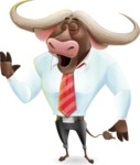 Business Buffalo Cartoon Vector Character - Feeling Bored