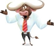 Business Buffalo Cartoon Vector Character - Feeling Lost