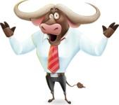 Business Buffalo Cartoon Vector Character - Feeling Shocked