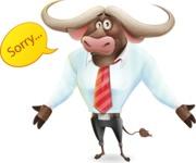 Business Buffalo Cartoon Vector Character - Feeling sorry