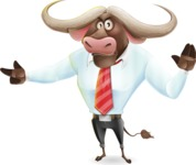 Business Buffalo Cartoon Vector Character - Finger pointing with angry face
