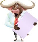 Business Buffalo Cartoon Vector Character - Holding a Blank banner