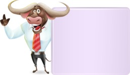 Business Buffalo Cartoon Vector Character - Holding a Blank sign and Pointing