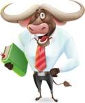 Business Buffalo Cartoon Vector Character - Holding a book