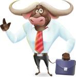 Business Buffalo Cartoon Vector Character - Holding a briefcase