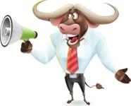 Business Buffalo Cartoon Vector Character - Holding a Loudspeaker