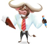 Business Buffalo Cartoon Vector Character - Holding a notepad with pencil