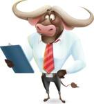 Business Buffalo Cartoon Vector Character - Holding a notepad