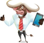 Business Buffalo Cartoon Vector Character - Holding a smartphone