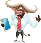 Business Buffalo Cartoon Vector Character - Holding an iPad