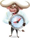 Business Buffalo Cartoon Vector Character - Holding clock