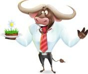 Business Buffalo Cartoon Vector Character - Holding grass cake