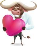 Business Buffalo Cartoon Vector Character - Holding heart