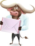 Business Buffalo Cartoon Vector Character - Holding mail envelope
