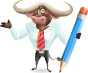 Business Buffalo Cartoon Vector Character - Holding Pencil
