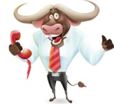 Business Buffalo Cartoon Vector Character - Holding phone with thumbs up