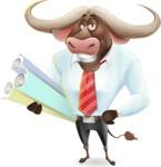 Business Buffalo Cartoon Vector Character - Holding Plans