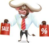 Business Buffalo Cartoon Vector Character - Holding shopping bags