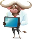 Business Buffalo Cartoon Vector Character - Holding tablet