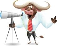Business Buffalo Cartoon Vector Character - Looking through telescope