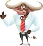 Business Buffalo Cartoon Vector Character - Making a point